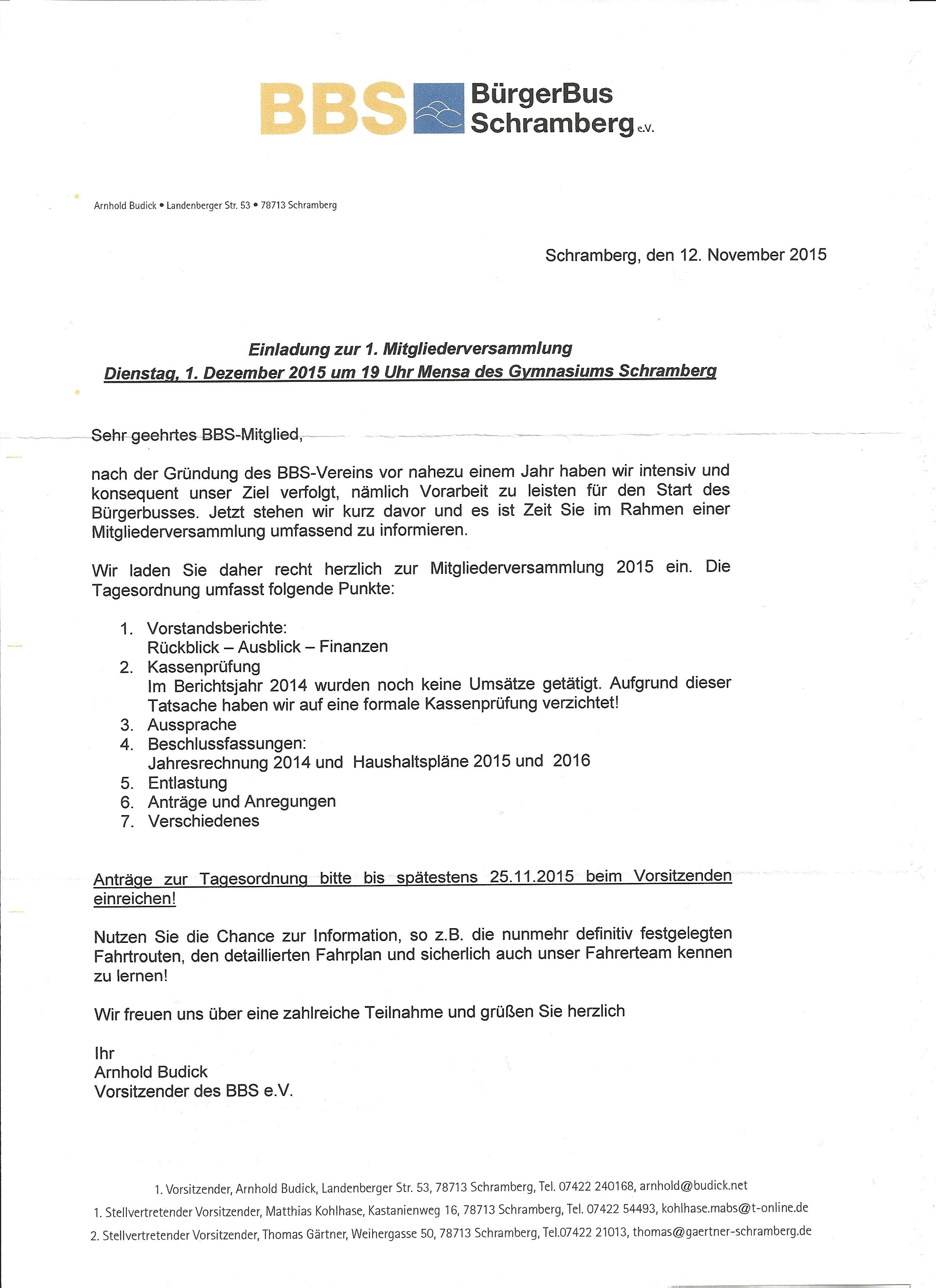 einladung zur 1. mitgliederversammlung – bürgerbus schramberg e.v., Einladung