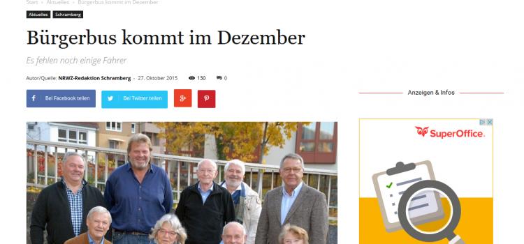 NRWZ Artikel: Bürgerbus kommt im Dezember