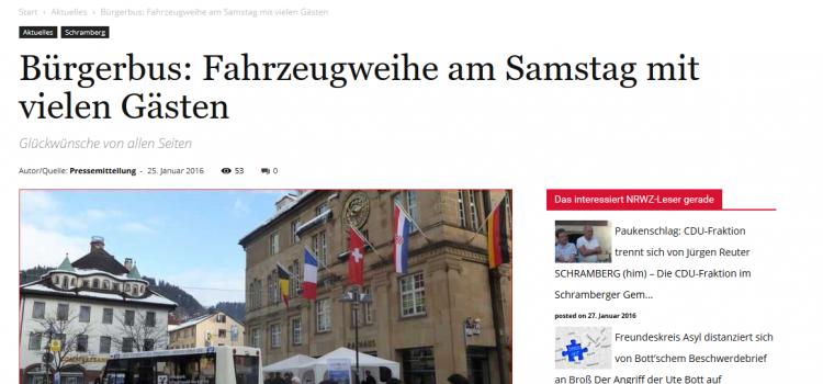 NRWZ Artikel: Bürgerbus: Fahrzeugweihe am Samstag mit vielen Gästen