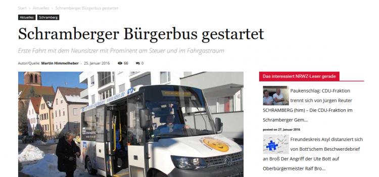 NRWZ Artikel: Schramberg Bürgerbus gestartet