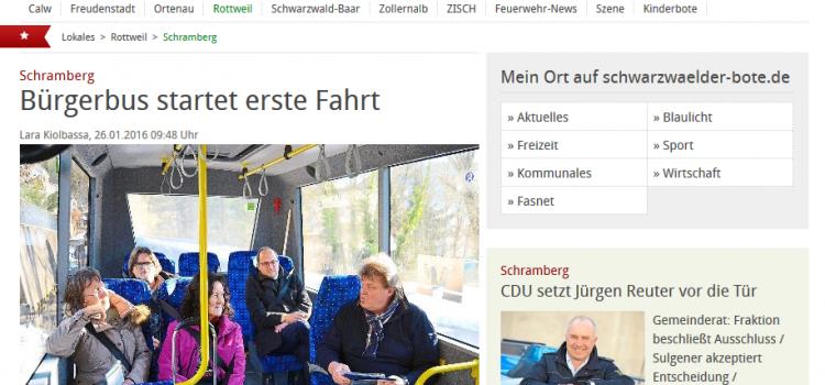 Schwabo Artikel: Bürgerbus startet erste Fahrt
