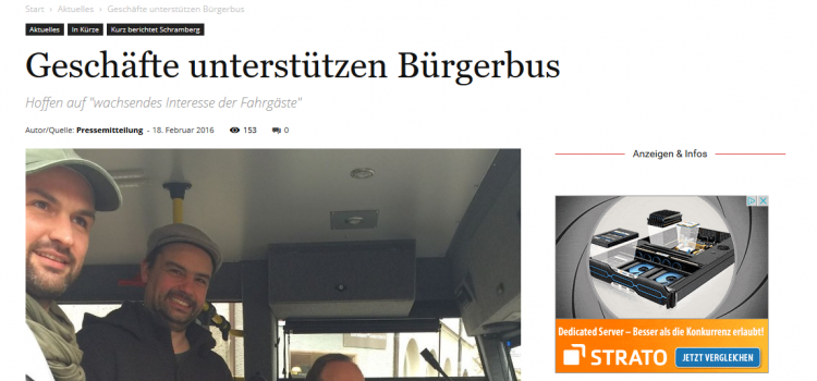 NRWZ Artikel: Geschäfte unterstützen Bürgerbus