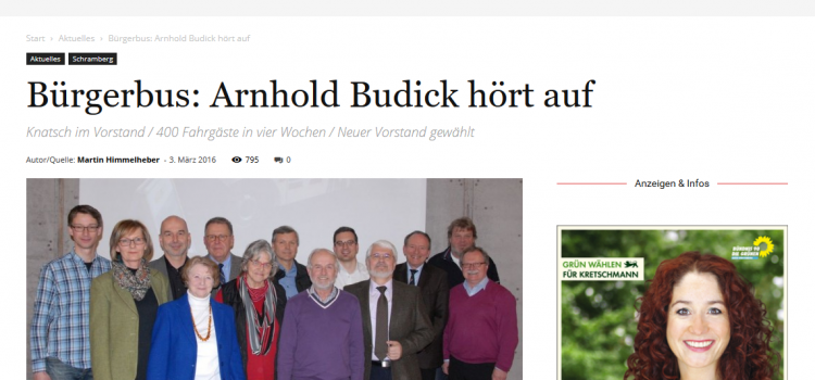 NRWZ Artikel: Arnhold Budick hört auf