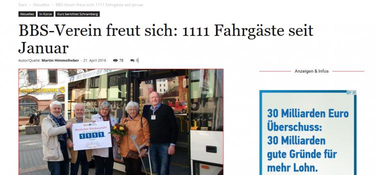 1.111 Fahrgast Frau Wilma Daudert und NRWZ Artikel