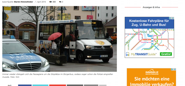NRWZ Artikel: Bürgerbus 10.000ster Fahrgast wird heute geehrt