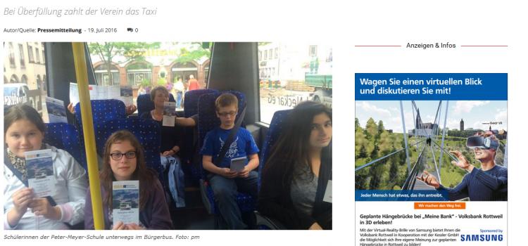 NRWZ Artikel: Bürger-Bus Schüler erkunden die Stadt