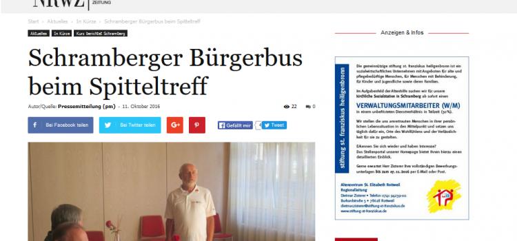 NRWZ Artikel: Schramberger Bürgerbus beim Spitteltreff