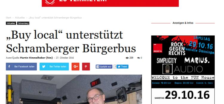 """NRWZ Artikel: """"Buy local"""" unterstützt Schramberger Bürgerbus"""