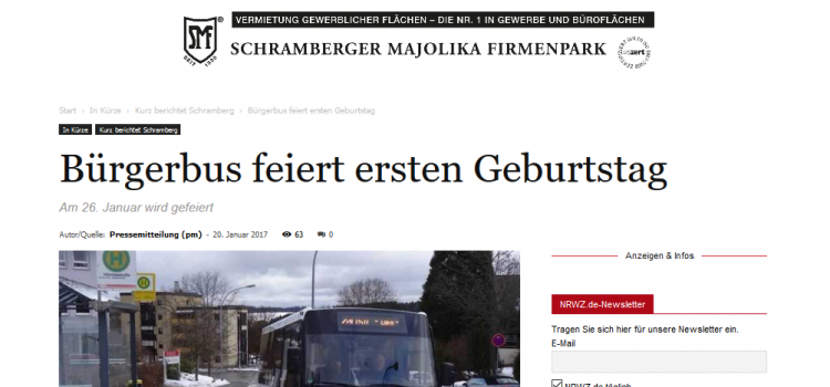 NRWZ Artikel: Bürgerbus feiert ersten Geburtstag