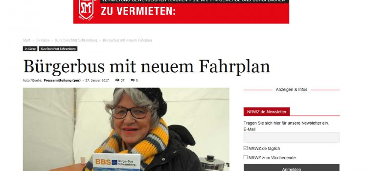 NRWZ Artikel: Bürgerbus mit neuem Fahrplan