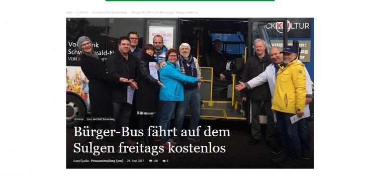 NRWZ Artikel: Bürger-Bus fährt auf dem Sulgen freitags kostenlos