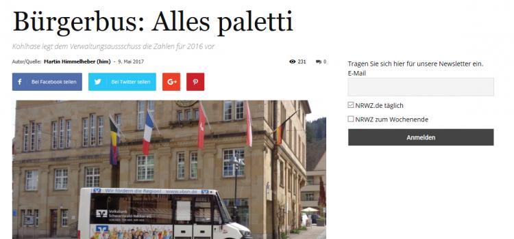 NRWZ Artikel: Bürgerbus alles Paletti