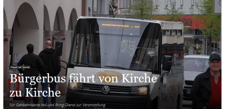 NRWZ Artikel: Bürgerbus fährt von Kirche zu Kirche