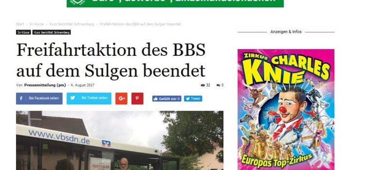 NRWZ Artikel: Freifahrtaktion des BBS auf dem Sulgen beendet