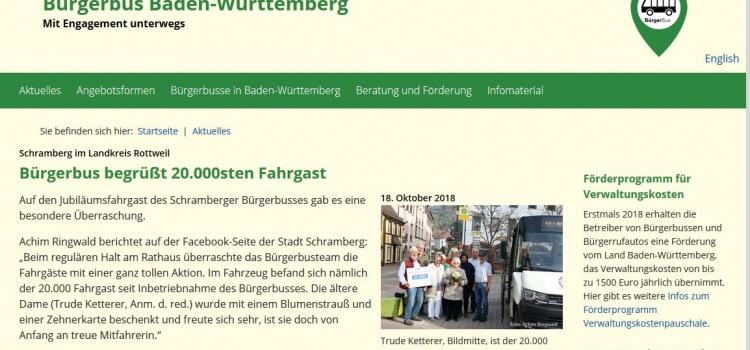 Veröffentlich bei www.buergerbus-bw.de zum 20.0000 Fahrgast