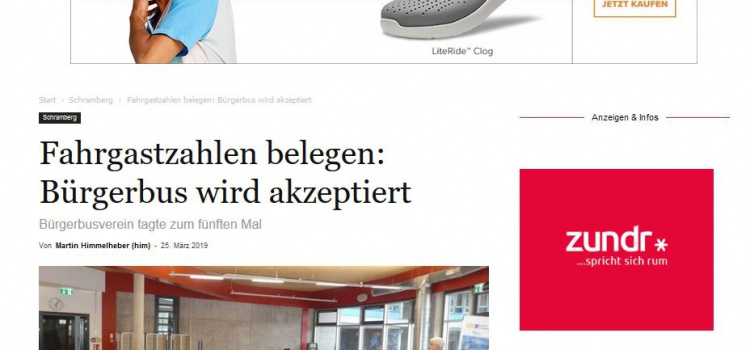 NRWZ Artikel: Fahrgastzahlen belegen: Bürgerbus wird akzeptiert