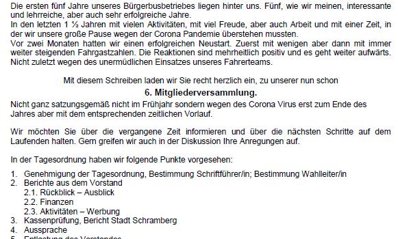 ABGESAGT! Einladung zur 6. Mitgliederversammlung des Bürgerbusvereins Schramberg