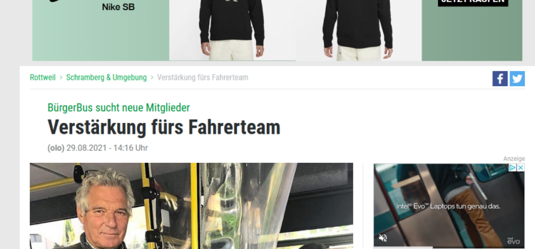 Schwabo Artikel: BürgerBus sucht neue Mitglieder – Verstärkung fürs Fahrerteam